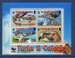 Turks & Caicos - Bloc - Red Tailed Hawk - WWF - Neuf Sans Charnière - Turks E Caicos