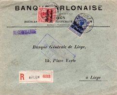"""OC3 Et 4 Sur Lettre Recommandée (courrier Bancaire) D'ARLON Vers Liège - Griffe Encadrée """"Nach Prüfung Geschlossen ..."""" - [OC1/25] Gen.reg."""