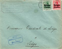 OC2 Et 3 Sur Lettre De NOIREFONTAINE Vers Liège  - Censure De Bouillon - [OC1/25] Gen.reg.