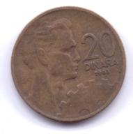 YUGOSLAVIA 1963: 20 Dinara, KM 40 - Yougoslavie