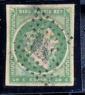 Año 1875 Edifil 160 50c Varlos VII Matasellos Rombo Marcas Verificacion Al Dorso YL - Used Stamps