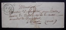 Sourdeval Labarre (Manche) 1850 Lettre Sans Timbre Pour Mr Dechatellier Maire De Passais (Orne) - 1849-1876: Periodo Classico