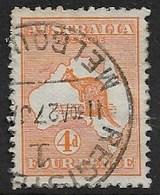 AUSTRALIA 1913 4d ORANGE-YELLOW  SG 6a FINE USED Cat £85 - 1913-48 Kangaroos