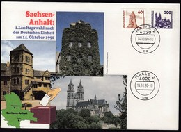 Germany DDR Halle 14.10.1990 / Sachsen Anhalt: 1. Landtagswahl Nach Der Deutschen Einheit, Elections / Castle - Briefe U. Dokumente