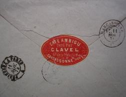 Carcassonne 1874 Café Ambigu, Tenu Par Clavel étiquette Sur Lettre Pour Paris - 1849-1876: Periodo Clásico