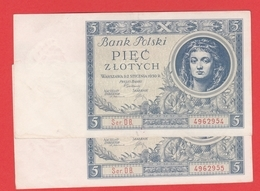 POLOGNE - 2 Billets Avec N° Serie Se Suivent - 5 Zlotych  02 01 1930 - Pick 72 - Polen