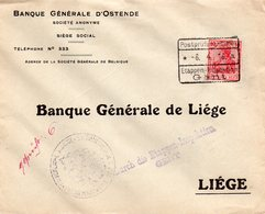 Timbre Germania Non Surchargé Sur Lettre (courrier Bancaire) D'OSTENDE Vers Liège Via Etappen-Inspektion GENT - Guerre 14-18