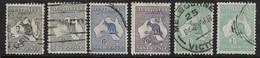 AUSTRALIA 1915 - 1927 NARROW CROWN WATERMARK ALL DIFFERENT SELECTION SG 35, 35c, 38, 39, 40, 40b, FINE USED Cat £68 - 1913-48 Kangaroos
