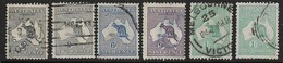 AUSTRALIA 1915 - 1927 NARROW CROWN WATERMARK ALL DIFFERENT SELECTION SG 35, 35c, 38, 39, 40, 40b, FINE USED Cat £68 - Used Stamps