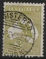 AUSTRALIA 1915 3d DIE II OLIVE-GREEN SG 37da FINE USED Cat £55 - 1913-48 Kangaroos