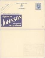 """EP Au Type 50ctm Bleu Lion Héraldique + Repiquage PUB """"Cigarette Johnson"""" & PUB Au Profit Des Employés Chomeurs - Enteros Postales"""