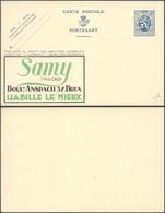 """EP Au Type 50ctm Bleu Lion Héraldique + Repiquage PUB """"Samy Tailors"""" & PUB Au Profit Des Employés Chomeurs - Enteros Postales"""