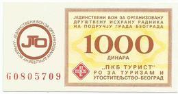 Yugoslavia Coupon For Food PKB 1000 Dinara - Joegoslavië