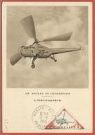 HELICOPTERE MONACO CARTE MAXIMUM DE 1955 - Elicotteri