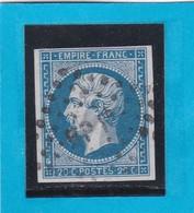 """N° 14 A  -  AMBULANT DE FRANCE   """" BP 1° """"    - REF 1447 + Variété - 1853-1860 Napoléon III"""