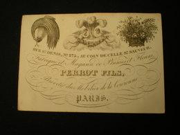 PARIS - RUE ST. DENIS - FABRIQUE ET MAGASIN DE PLUMES ET FLEURS - PERROT FILS - CARTE DE VISITE 11,5 X 8 - Frankreich