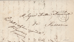 Alghero. 1859. Annullo Doppio Cerchio  ALGHERO, Su Franchigia Completa Di  Testo. BELLA. - 1861-78 Vittorio Emanuele II