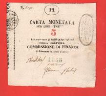 Palmanova 3 Lire 1848 Assedio Austriaco Assegnato Governo Provvisorio Assignè - Austrian Occupation Of Venezia