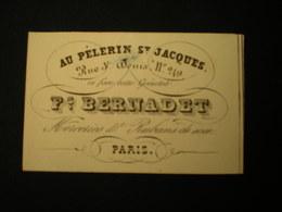 PARIS - RUE ST. DENIS - AU PELERIN ST JAQUES - MERCERIES F. BERNADET - CARTE DE VISITE 10.5 X 6.5 - Frankreich