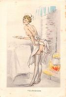 ¤¤   -  Illustrateur  -  Femme Dénudée Devant La Cheminée  -  TOURNEDOS  -  BARRE-DAYEZ     -  ¤¤ - Barday