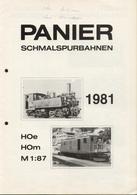 Catalogue PANIER 1981 Schmalspurbahnen HOe HOm 1:87 - Boeken En Tijdschriften