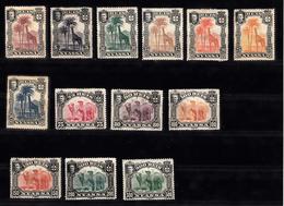 Portugal Nyassa 1901 Mi Nr 27-39,  Giraf, Dromedaris, Giraffe, Dromedary,  Met Plakker - Afrique Portugaise