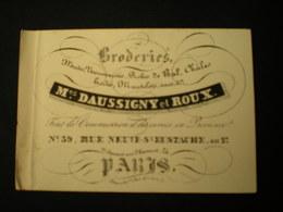 PARIS - RUE NEUVE ST. EUSTACHE - BRODERIES Mes DAUSSIGNY ET ROUX -  CARTE DE VISITE 10.5 X 7 - Frankreich