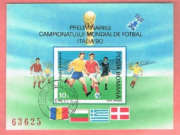 ROMANIA  -  MI BL260  - 1990 FOOTBALL WORLD CUP: PLAYERS (BF IMPERFORATED) - USED  - RIF. CP. - Blocks & Kleinbögen