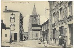 42-PERIGNEUX-La Rue Principale Et L'Eglise...1915  Animé   Café GIRAUDON... - France