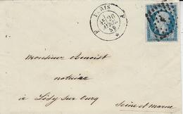 1859- Lettre De Paris- Bureau F  Affr. N°14 Oblit. Losange  F Baton - Storia Postale