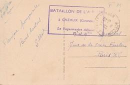 Sur Carte D Arcachon, Cachet Bataillon De L'air 124 à Cazaux 1939 - Guerre De 1939-45