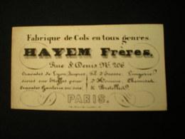 PARIS - RUE ST. DENIS - FABRIQUES DE COLS CRAVATES -  HAYEM FRERES - CARTE DE VISITE 10 X 5.5 - Frankreich