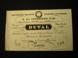 PARIS - RUE ST. DENIS - A LA COURONNE D'OR - FABRIQUE DE CHAPEAUX DE PAILLE DUVAL - CARTE DE VISITE 10 X 6 - Frankreich