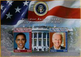 122.LIBERIA STAMP M/S PRESIDENT BARACK OBAMA,VICE PRESIDENT JOE BIDEN . MNH - Liberia