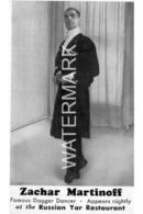 ZACHAR MARTINOFF FAMOUS DAGGER DANCER AT RUSSIAN YAR RESTAURANT OLD B/W POSTCARD 38 WEST 52ND STREET NEW YORK - Manhattan