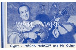GYPSY MISCHA MARKOFF & GUITAR AT RUSSIAN YAR RESTAURANT OLD B/W POSTCARD 38 WEST 52ND STREET NEW YORK - Manhattan