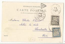 Carte Postale De Paris à Lacabarède (Tarn) - 1900 - Taxée à 20 Cts Dont 15 Cts Noir - 1859-1955 Covers & Documents