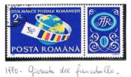 ROMANIA   - SG 5309   -  1990 STAMP DAY (WITH LABEL)  - USED ° -    RIF. CP - Used Stamps