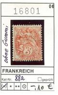 Frankreich - France - Francia -  Michel 88a - Ohne Gummi - Sans Gomme - 1900-29 Blanc