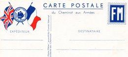 """CP-  2 Drapeaux- """" Cheminot Aux Armées """"- - Guerre De 1939-45"""
