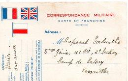 """CP-  3 Drapeaux- """" Correspondance Militaire  """"- - Guerra Del 1939-45"""