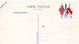 """CP-  3 Drapeaux- """" F. M """"- - Guerre De 1939-45"""