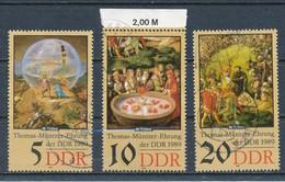 DDR Mi. 3269 - 3271, 3270 OR RWZ Gest. Thomas Müntzer Bauernkrieg Gemälde Tübke - Gebruikt