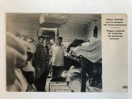 Ak Cp Wagon Train Pour Le Transport Blesses Grievement - Guerre 1914-18