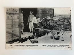 Ak Cp 1914 Train Transport Des Objects Trouves Sur Le Champ De Bataille - Guerre 1914-18