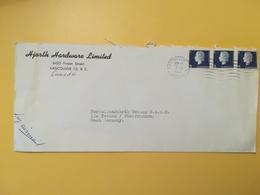 1963 BUSTA INTESTATA AIR MAIL CANADA  BOLLO REGINA ELISABETTA QUEEN ELIZABETH ANNULLO OBLITERE' VANCOUVER - Lettres & Documents