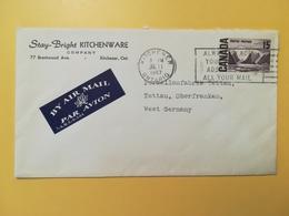 1967 BUSTA INTESTATA AIR MAIL CANADA  BOLLO ALTI VALORI ANNULLO OBLITERE' KITCHENER - Lettres & Documents