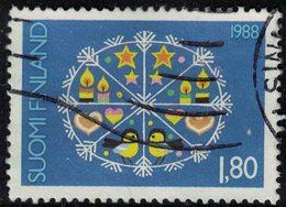 Finlande 1988 Oblitéré Used Cristal De Neige Avec Symboles De Noël Bougies étoiles Coeurs Oiseaux SU - Finnland