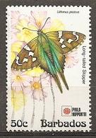 Barbados 1991 Papillon Butterfly Obl - Barbados (1966-...)
