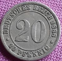 DUITSLAND  : Scarce TYPE 20 PFENNIG 1888 A  KM 9.1 - [ 2] 1871-1918: Deutsches Kaiserreich